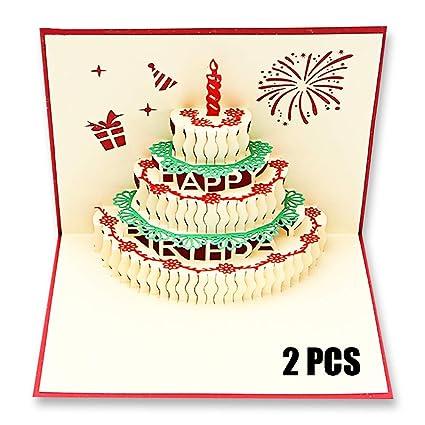 2 piezas 3D Pop Up Tarjeta de cumpleaños pastel, hecho a ...