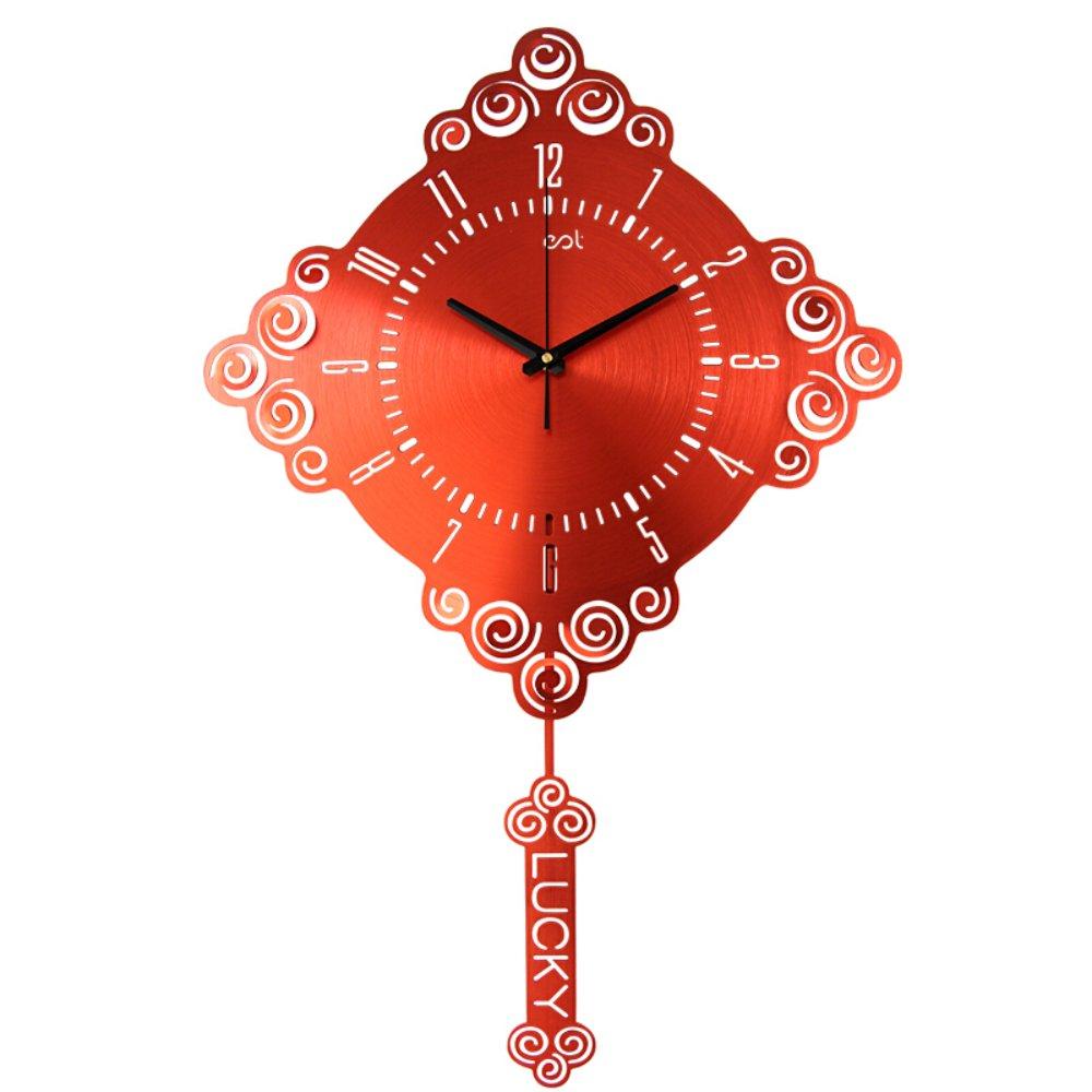 中国の結び目の幸運の芸術ミュートの壁時計 リビングルームのベッドルーム大きな振り子時計 スタイリッシュなメタルレッドクォーツ時計 B07F5Q2ZYC