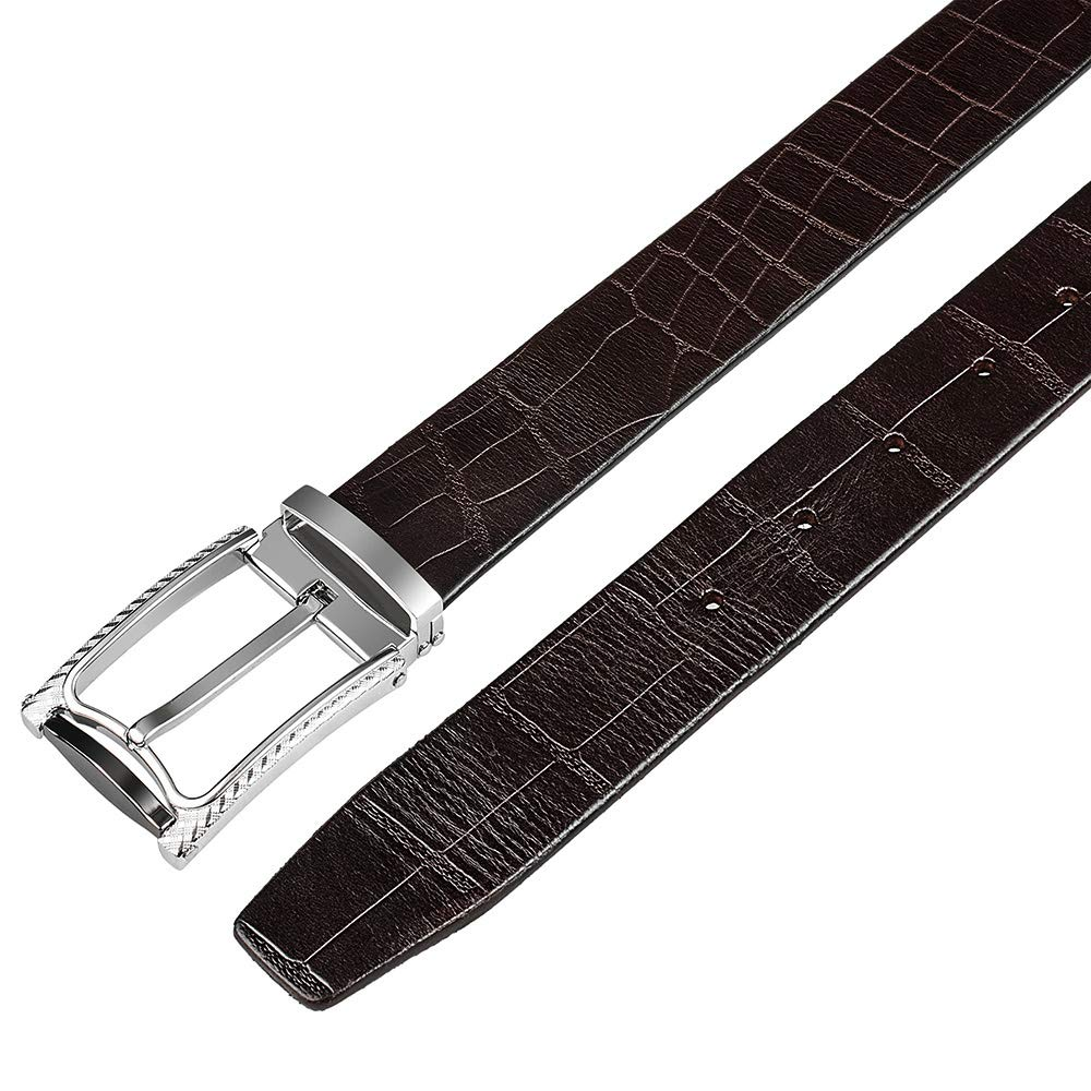Leather Belt Mancala Top Grain Genuine Leather Belt with Single Prong Buckle