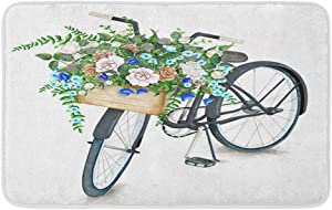 Adowyee Bath Mat Blue Vintage Watercolor Black Bicycle Beautiful Flower Basket Peony Cozy Bathroom Decor Bath Rug with Non Slip Backing 16