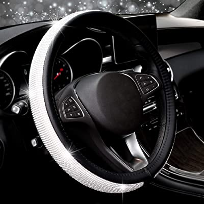 COFIT Crystal Steering Wheel Cover, Diamond Like, Microfiber Leather, Fashionable, Universal M 14 1/2-15 1/3 Inch: Automotive