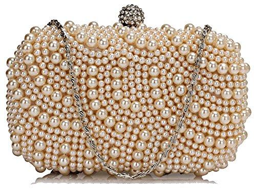 Stunning Luxury Cream/Nude Beaded Pearl Rhinestone Clutch Bag | FREE UK DELIVERY | SAVE 70%