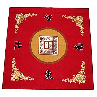 "31.5"" Table Cover - Slip Resistant Mahjong Game / Poker / Dominos / Card Tablecover Table Top Mat - Red: Toys & Games"