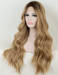 cf0df7ff6c36bc Persephone Ombre Blonde Lace Front Wig Wavy Soft Brown Roots Ash Blonde Ombre  Wigs for Women