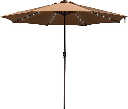 Sundale Outdoor 11FT 40 LED Lights Aluminum Patio Market Umbrella