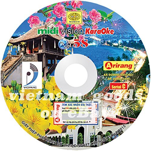 Arirang Karaoke Vision Midi Disc Vol 58 Serial C Vietnamese English Chinese For Arirang Player AR 909MD / AR 909SMD / AR 36MD / AR 36MI