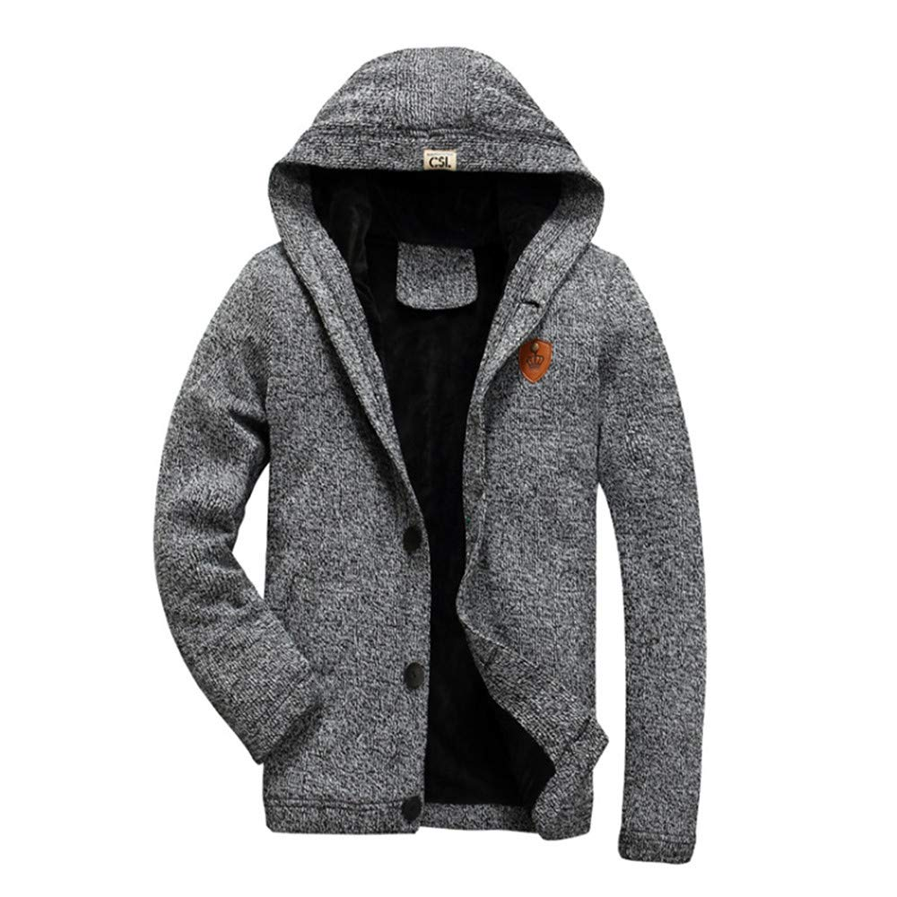 Clearance Sale,2018 New WUAI Men's Eco Fleece Jackets Knit Cardigan Fashion Outdoors Sports Thickened Plush Coats(Grey,US Size L = Tag XL)