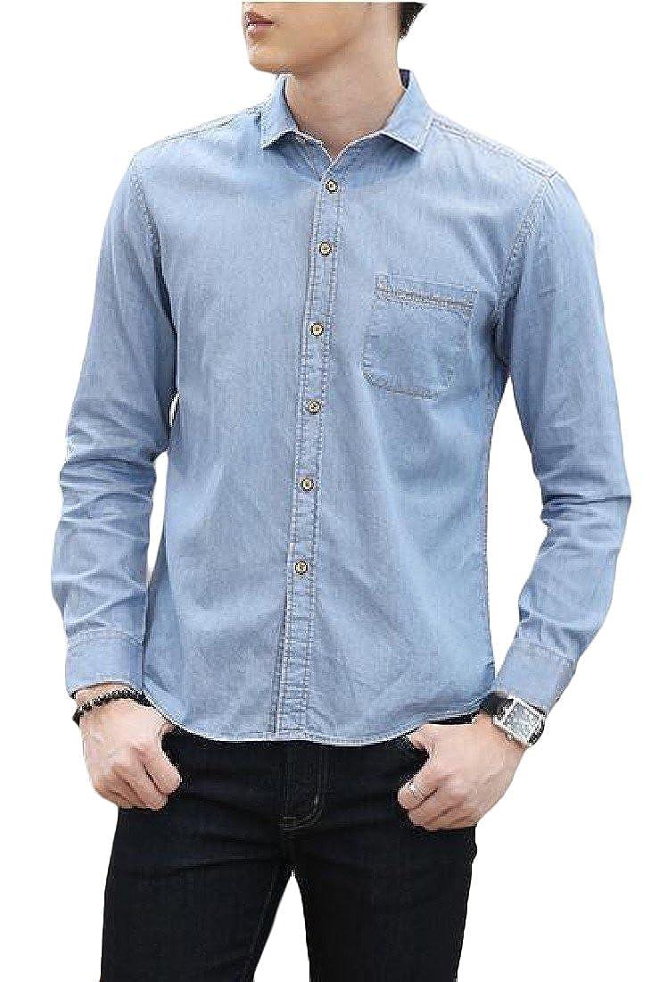 Hajotrawa Mens Long Sleeve Classic Fit Faded Denim Casual Button Down Slim Shirts