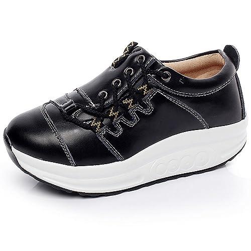 Shenn Mujer Calzo Aptitud Para caminar Negro Cuero Entrenadores Zapatos 1062 EU35.5 PGxX2i3VJD