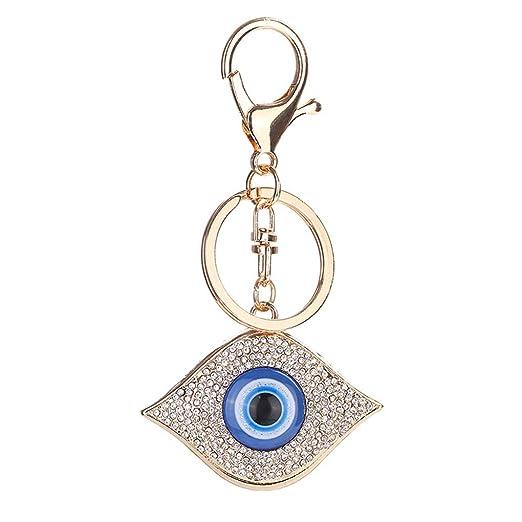 Cdrox Rhinestone de los Ojos Azules Grandes llaveros Anillo ...