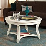 American Drew Lynn Haven Round Glass Coffee Table in White For Sale