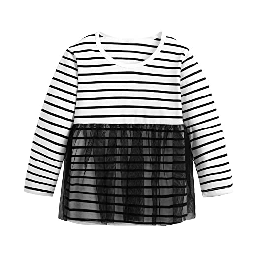 0b024984 1-6 Years Toddler Kids Baby Girls Tulle T-Shirt Tops Striped Long Sleeve