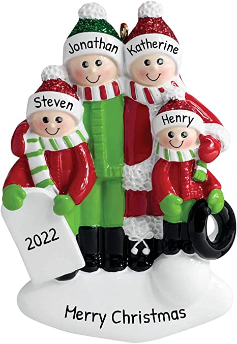 Personalized Playing In The Snow Family Of 4 Christmas Tree Ornament 2020 Mother Father Child Cozy Sled Tub Holiday Foster Appreciate Friend Engraved Tradition Dated Year Gift Free Customization Amazon Ca