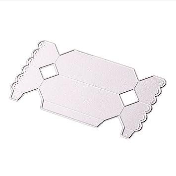 Caja de regalo de caramelos, troquelado de metal, decoración de álbumes de recortes, color plateado: Amazon.es: Hogar
