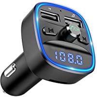 Comsoon Bluetooth FM Transmitter, [Blue Ambient Ring Light] Wireless Radio Car Receiver Adapter Kit with Hands-Free Calling, Dual USB Charger 5V/2.4A & 1A, Support TF/SD Card, USB Disk