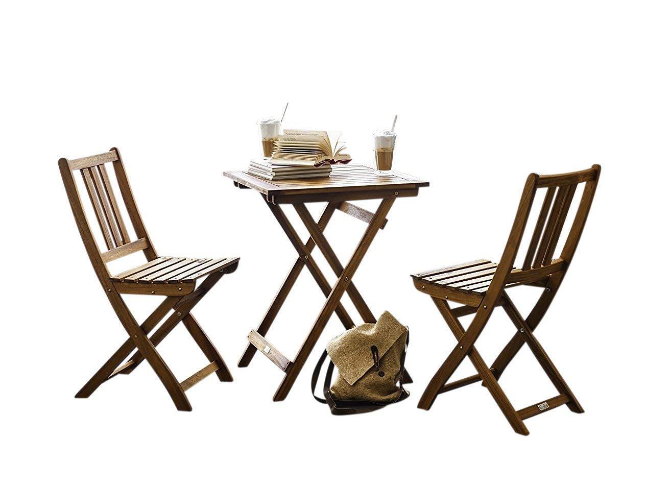 Amazon de sam gartengruppe taastrup 3tlg akazienholz balkongruppe fsc 100 zertifiziert 1 tisch 2 stühle garten tischgruppe