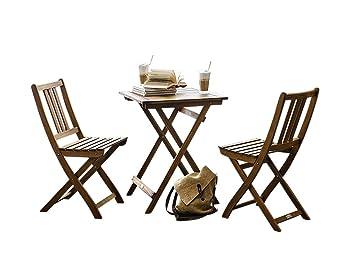 Tisch2 Tischgruppe Taastrup3tlgAkazienholz FSC® Garten 1 SAM Balkongruppe 100Zertifiziert Gartengruppe Stühle EHID92WY