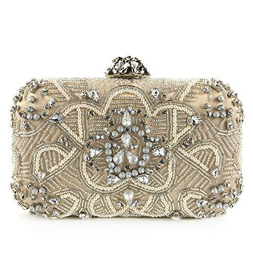 YEEBOM Women's Crystal Beaded Rhinestone Handbag-Evening Bags and Clutch for Women,Shoulder Handbag Evening Prom Bag Purse for Party Weeding Evening Dress gold ()