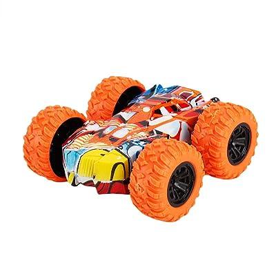 LINKIOM Inertia-Double Side Stunt Graffiti Car Off Road Model Mini Car Vehicle Kids Toy Gift for Boys and Girls, Best Birthday Gift for Kids (Orange, 7.5x7.5x3cm): Clothing