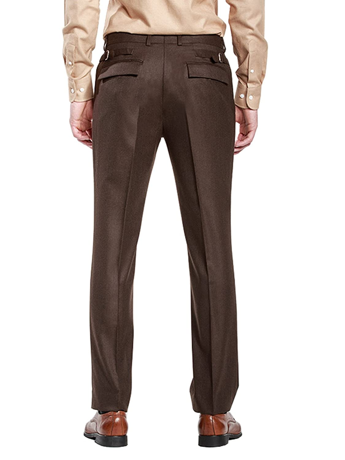 HBDesign Mens Outdoor Ball Slim Fit Flat Straight Brown Iron Free Pants