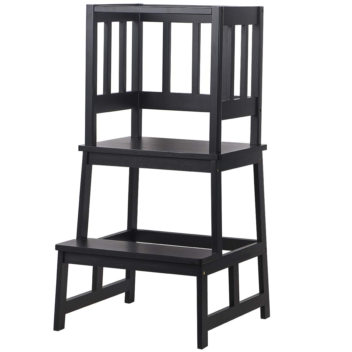 SUNYAO Kids Kitchen Step Stool with Safety Rail - Bamboo Learning Tower for Toddlers 18 Months and Older, Black Color
