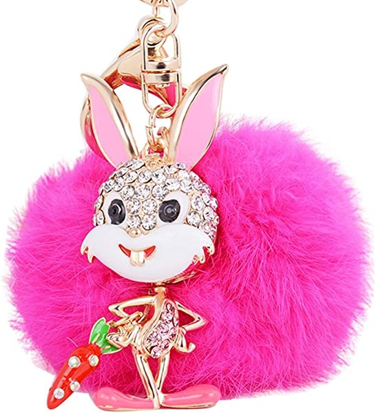 Amazon.com  DENER Faux Rabbit Fur Bunny Fluffy Plush Pom Pom Charm Keychain  Key Ring for Womens Bag or Cellphone or Car Pendant (Hot Pink)  Jewelry 98c282670