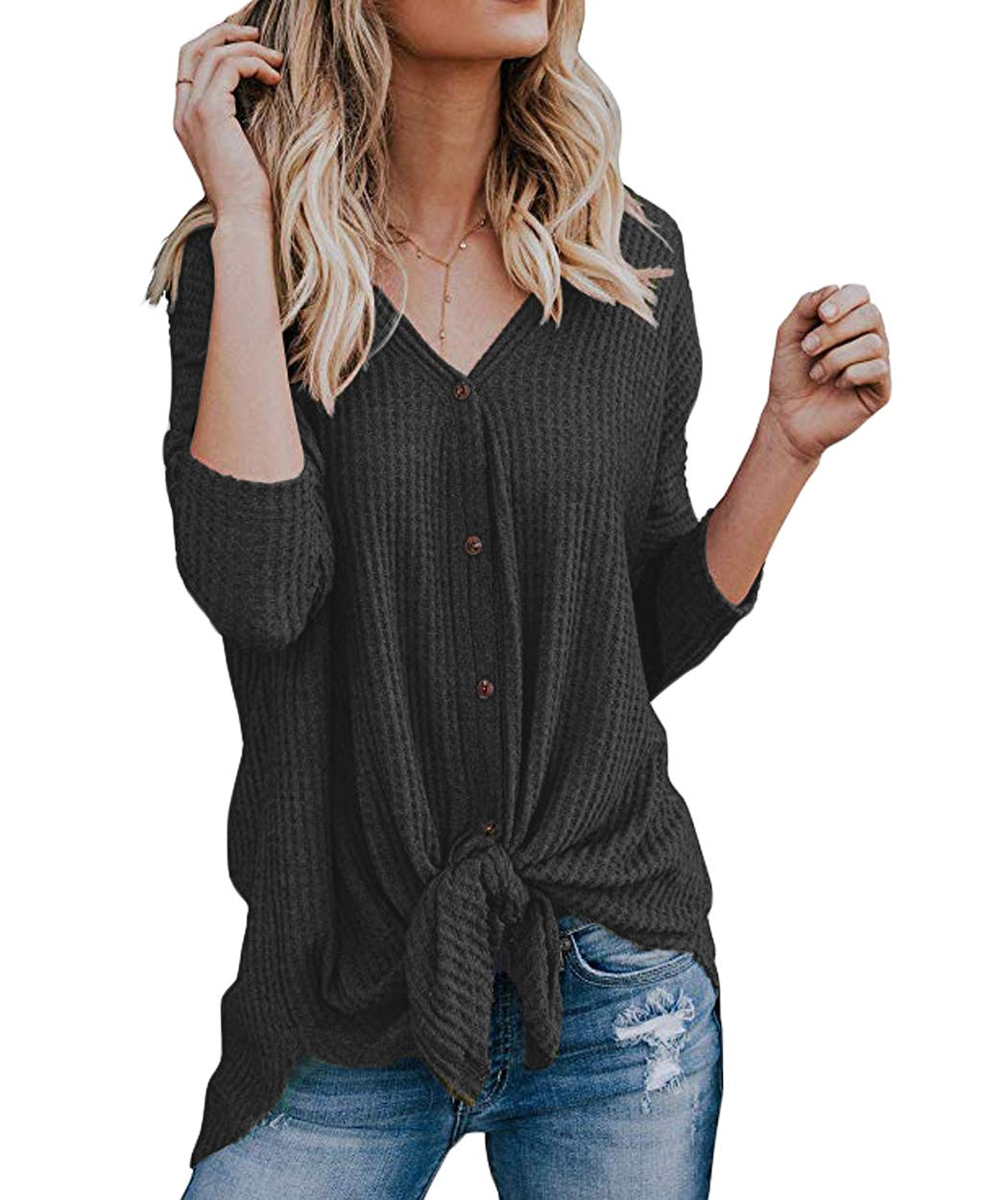 Eanklosco Tie Knot Tops Womens Waffle Knit V Neck Blouse Button Down Long Sleeve Henley Shirt (Gray, L)
