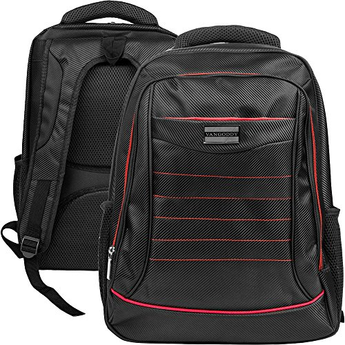 VanGoddy Universal Multiple Design Backpack Bag with Padded Sleeve & Hand strap for Apple Macbook Pro/Air 15.4 13.3 Inch with Retina Display OS X Laptop (Black Red) by SumacLife