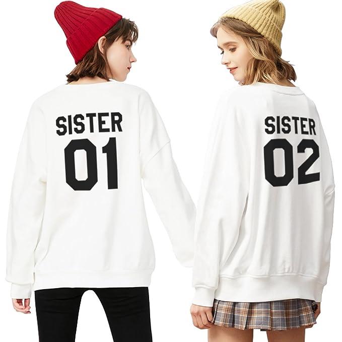 Sudadera Best Friend Impresión Mejor Amiga 2 Piezas Suéter Sister 01 02 Manga Larga Sweatshirt sin Capucha Moda Casual para Mujer Otoño Primavera Blanco ...