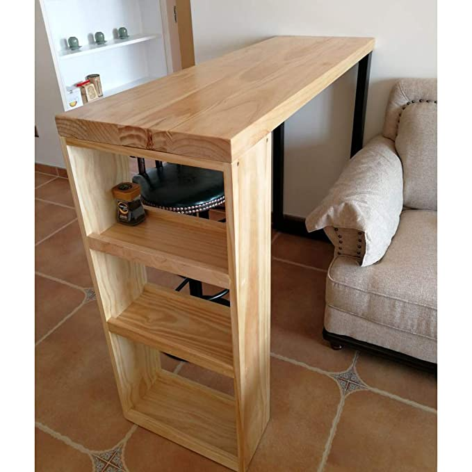 Amazon.com: Bar table Lxn Solid Wood with Storage Shelves ...