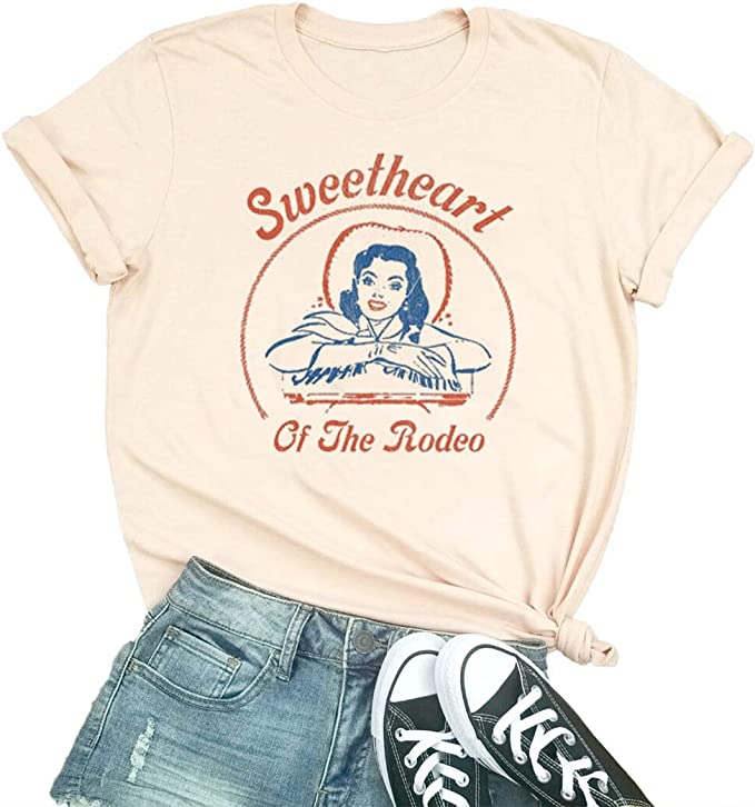 Sweetheart of The Rodeo - Camiseta de Manga Corta para Mujer, diseño de Vaquera - Beige - Medium: Amazon.es: Ropa y accesorios