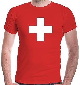 new style 71abc 25cf8 buXsbaum® Herren Unisex Kurzarm T-Shirt Bedruckt Schweizer Kreuz | Flagge  Ländershirt Fanshirt