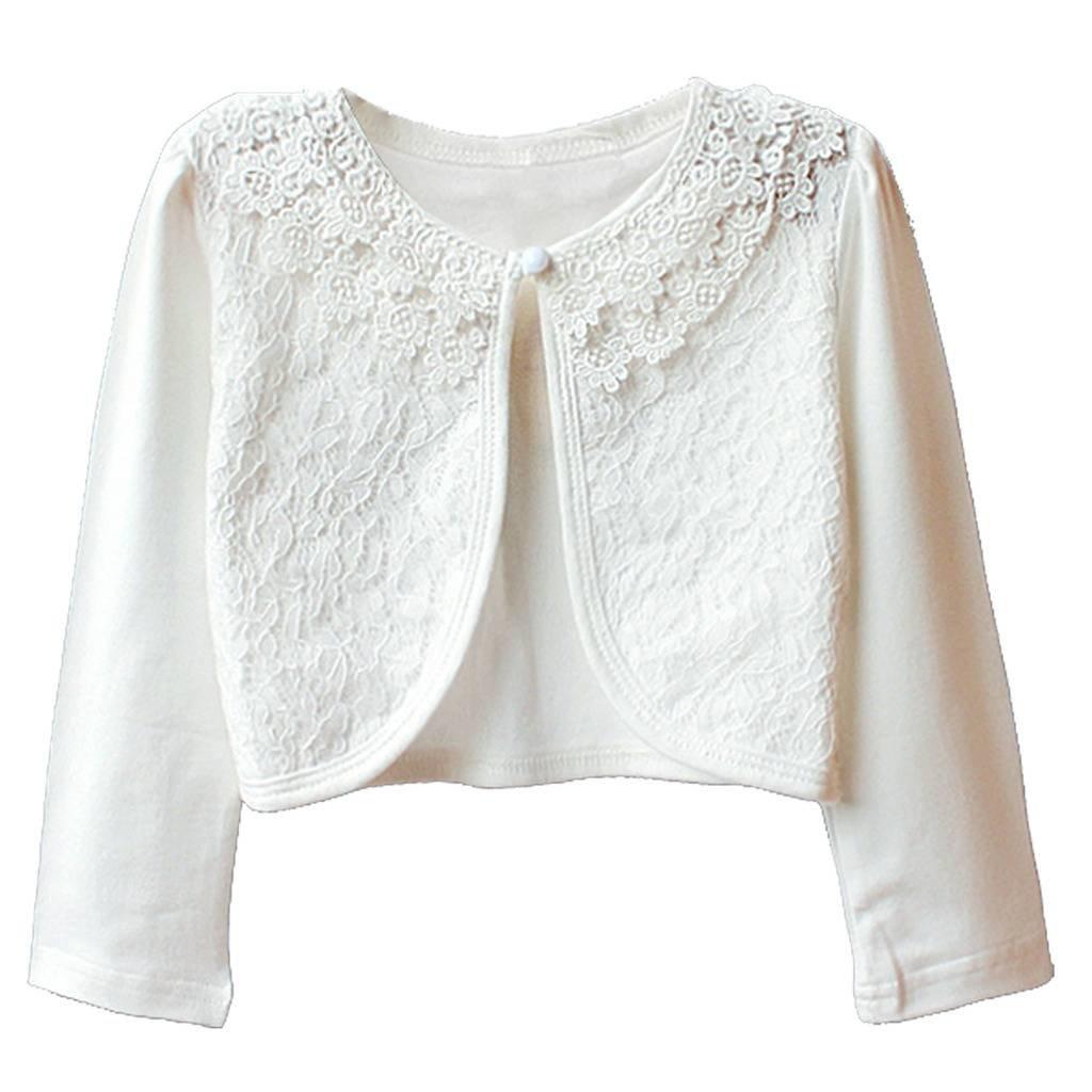 Happy Rose Little Girls' Lace Flower Long Sleeve Bolero Cardigan Shrug 8