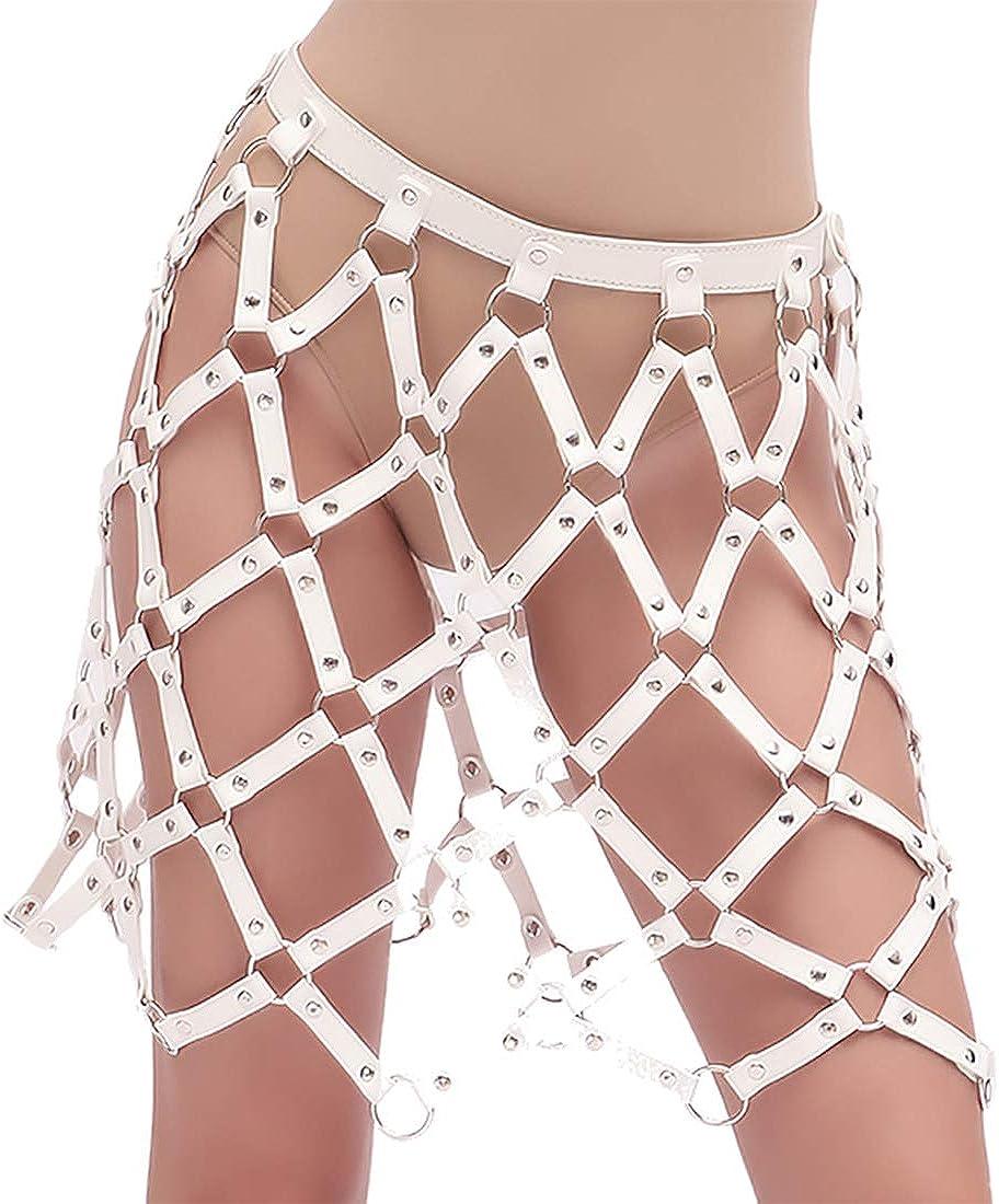keland Falda de lazo de malla de malla de mono de cuero negro sexy para adultos (Blanco, L)