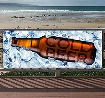 Flag, New Store Advertising Cold Beer 13 oz Heavy Duty Vinyl Banner Sign with Metal Grommets Many Sizes Available