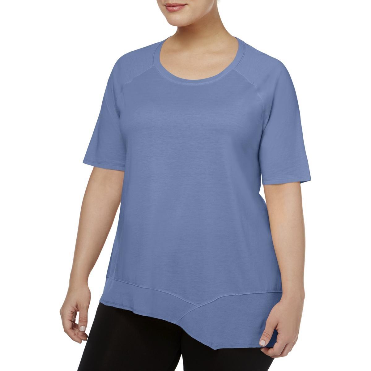 Calvin Klein Performance Womens Plus Asymmetrical-Hem T-Shirt Blue 1X/2X