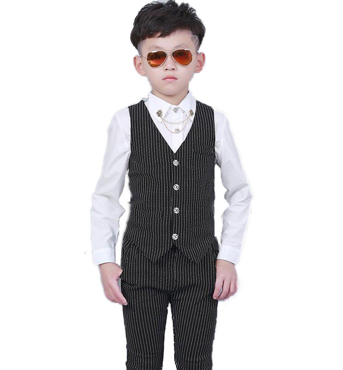 Gele Boy 2 Pieces Fashion Casual Suit,Vest+Pants (4T, Black)