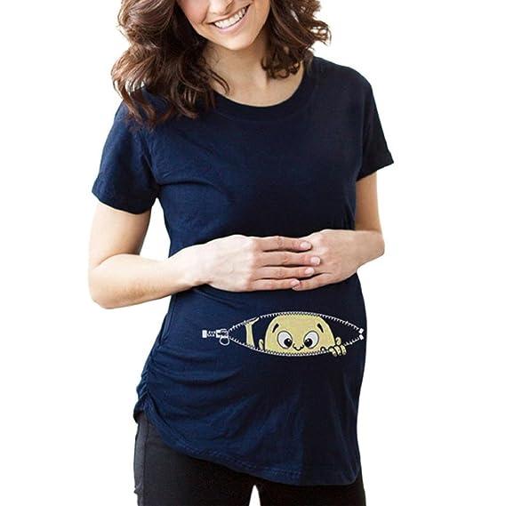 QUICKLYLY Camiseta de Maternidad Ropa de Blusa Ropa Enfermería Moda de Madre Ropa Embarazada Mangas Cortas
