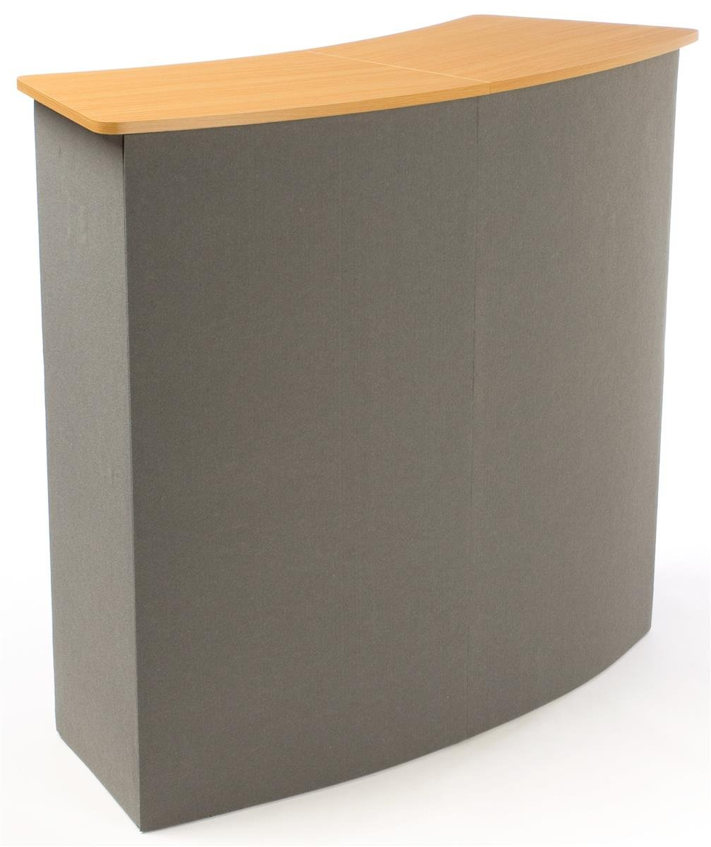 Displays2go Portable Trade Show Counter, Sets Up In Minutes, Gray Receptive Fabric Front and MDF Countertop with Natural Wood Finish - Stands 37-1/2 Inches tall (CNTPUVLGRY)