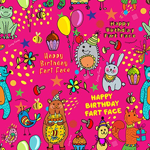 Fart Face Birthday wrapping paper - excellent quality, funny and super cute, medium-weight gift wrapping paper, 30
