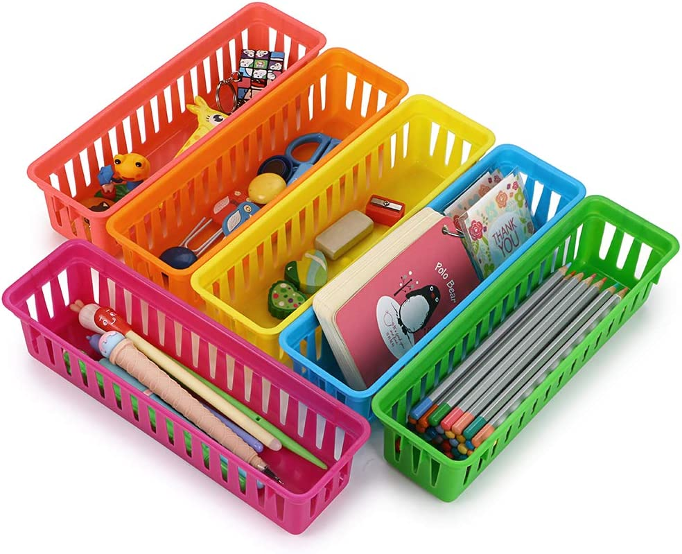 BTSKY 12 Pack Classroom Pencil Basket Trays, Colorful Pencil Organizer Crayon Basket Long Office Supply Baskets Organization Trays