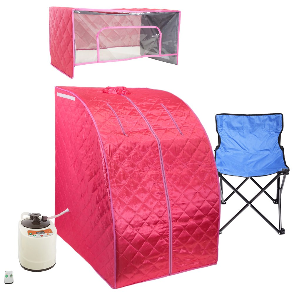WYZworks Pink Portable Therapeutic Personal Steam Sauna Spa Room 2L Water Capacity with Headcover and Herb Box