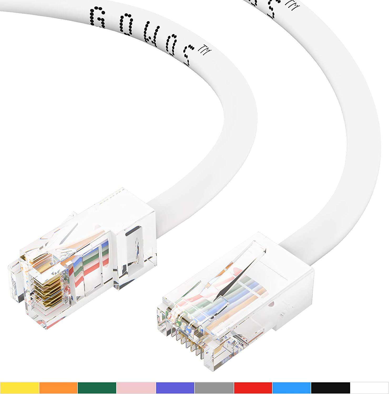 RJ45 10Gbps High Speed LAN Internet Patch Cord GOWOS 50-Pack UTP Available in 28 Lengths and 10 Colors Computer Network Cable with Bootless Connector 14 Feet - Yellow Cat5e Ethernet Cable
