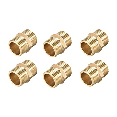 uxcell Brass Male to Male Straight Pipe Hex Nipple Fitting G 1//4 x G 1//4 Male Thread Connector 6pcs