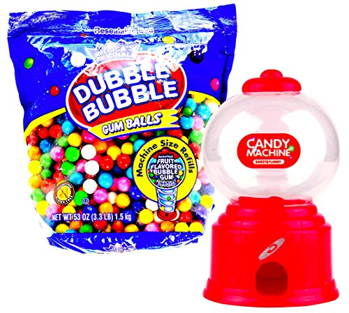 Candy Machine Mini Gumball Dispenser with 3.3 lbs Dubble Bubble Gum Ball Bulk Refill Pouch Bundle