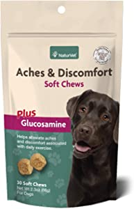 NaturVet – Aches & Discomfort For Dogs – Helps Alleviate Aches & Discomforts – Contains Glucosamine, Boswelia, & White Willow Bark – 30 Soft Chews