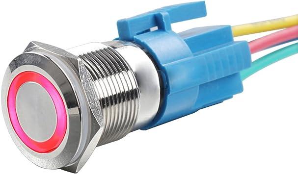 Yakamoz DC12V 16mm 5//8 Metal Self-locking Latching Push Button Switch Red Led Power Symbol Car DIY Switch Black