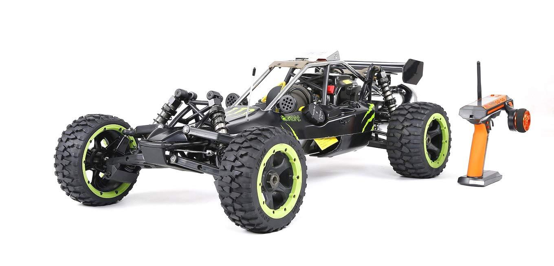 MODELTRONIC Coche RC Buggy 1:5 Rovan Sport 305A Pro 30,5CC emisora Fly Sky GT3C Negro-Verde Energy clon HPI Baja Velocidad hasta 70 Km/h.