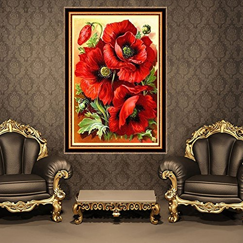 Kit de pintura de diamantes para hacer manualidades con diamantes de imitaci/ón cuadro de punto de cruz lienzo para decoraci/ón del hogar bordado dise/ño de mosaico de rosas rojas