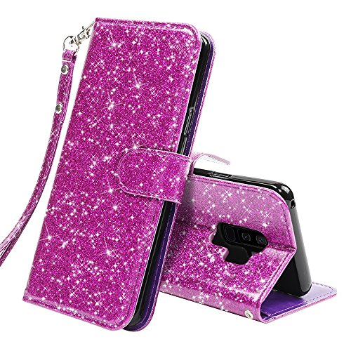 LK Galaxy S9 Plus Case,[Wrist Strap] Luxury Glitter Sparkle PU Leather Wallet Protective Case Cover with Card Slots and Stand for Samsung Galaxy S9 (Purple bling)